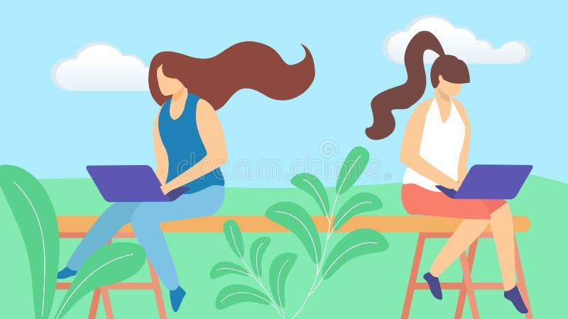 Χαρακτήρες Freelancer νέων κοριτσιών που εργάζονται μακρινά ελεύθερη απεικόνιση δικαιώματος