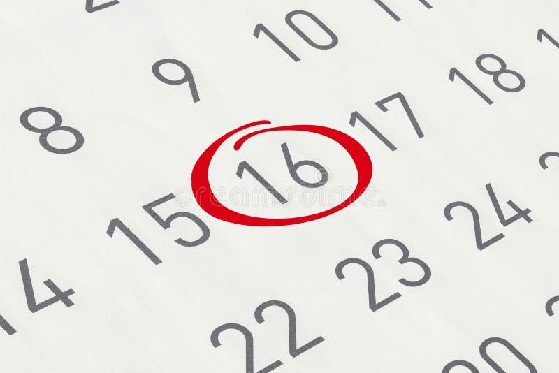 Χαρακτηρίστε την ημερομηνία αριθμός 16 στοκ φωτογραφία με δικαίωμα ελεύθερης χρήσης