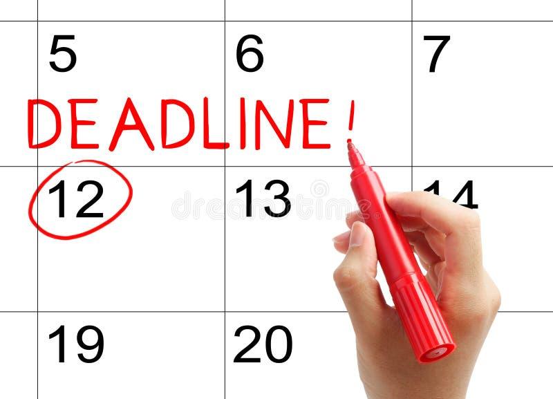 Χαρακτηρίστε την προθεσμία στο ημερολόγιο στοκ εικόνες