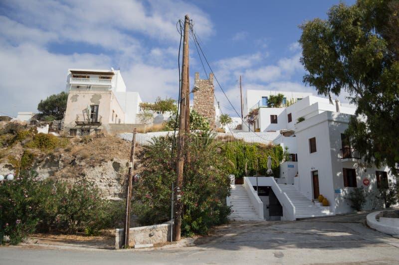Χαρακτηριστικά ασπρισμένα σπίτια σε Adamantas, Μήλος, Ελλάδα στοκ φωτογραφία με δικαίωμα ελεύθερης χρήσης