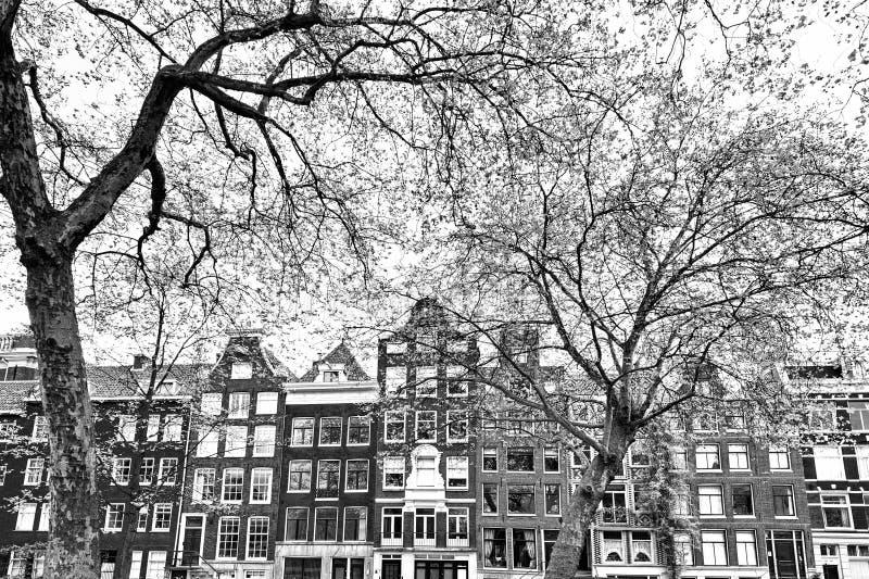 Χαρακτηριστικά ολλανδικά σπίτια τούβλου στοκ εικόνες
