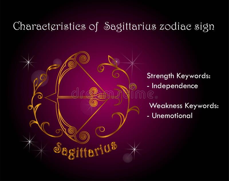 Χαρακτηριστικά zodiac Sagittarius του σημαδιού απεικόνιση αποθεμάτων