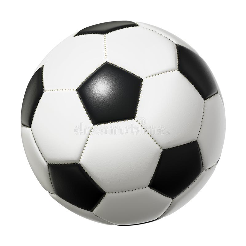 Χαρακτηριστική γραπτή σφαίρα ποδοσφαίρου που απομονώνεται στο άσπρο υπόβαθρο διανυσματική απεικόνιση