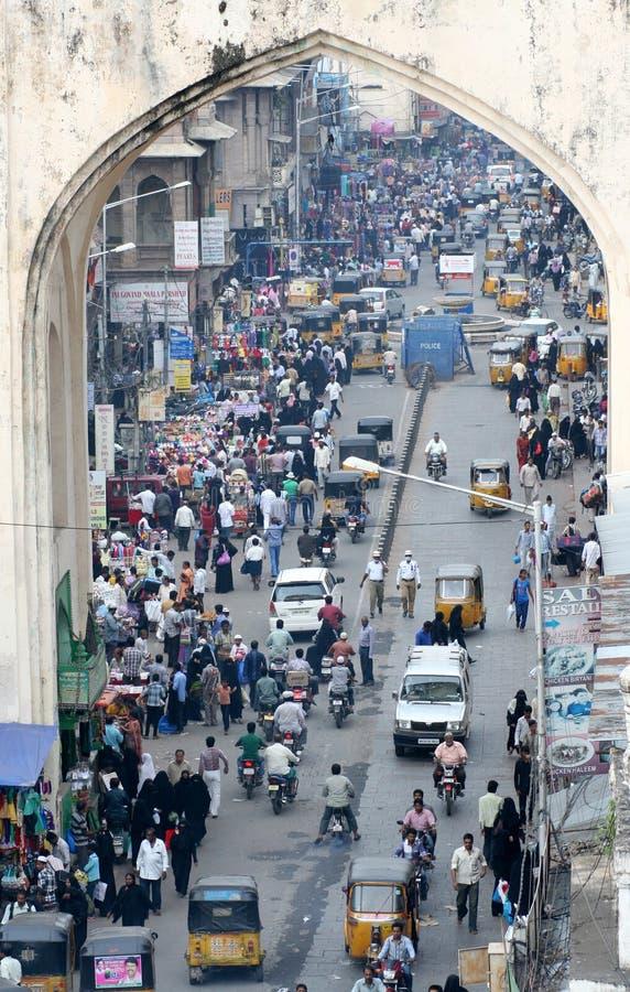 Χαρακτηριστική ινδική οδός, Hyderabad, Ινδία στοκ εικόνες με δικαίωμα ελεύθερης χρήσης