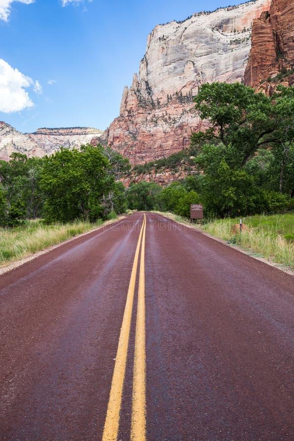 Χαρακτηριστικός κόκκινος δρόμος στο εθνικό πάρκο Zion, Γιούτα, ΗΠΑ στοκ εικόνα με δικαίωμα ελεύθερης χρήσης
