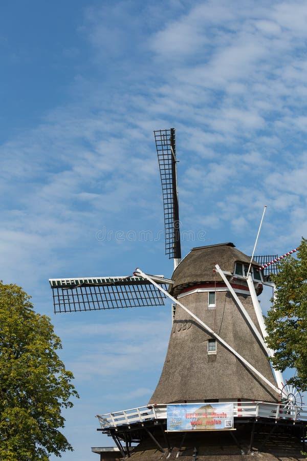 Χαρακτηριστικός ολλανδικός μύλος σιταριού μια ηλιόλουστη ημέρα στοκ εικόνες