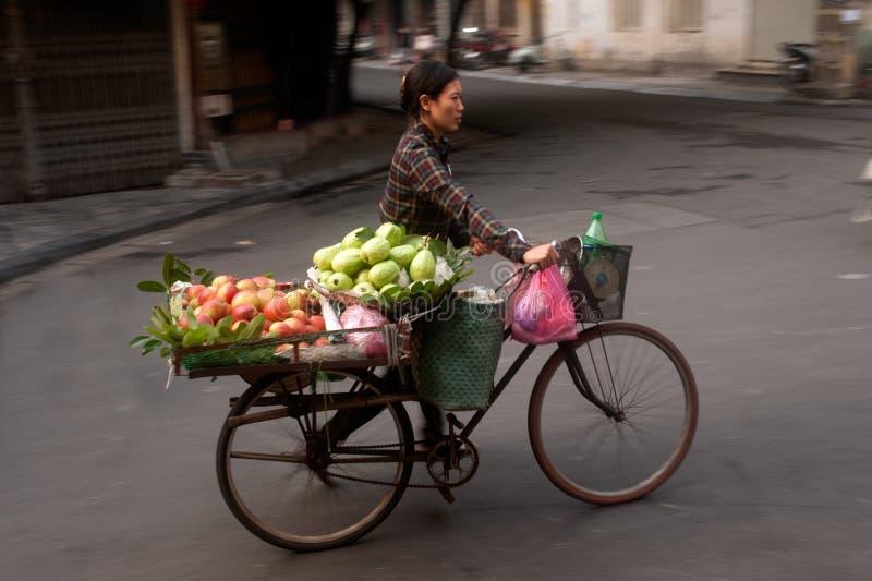 Χαρακτηριστικός πλανόδιος πωλητής στο Ανόι, Βιετνάμ στοκ εικόνα