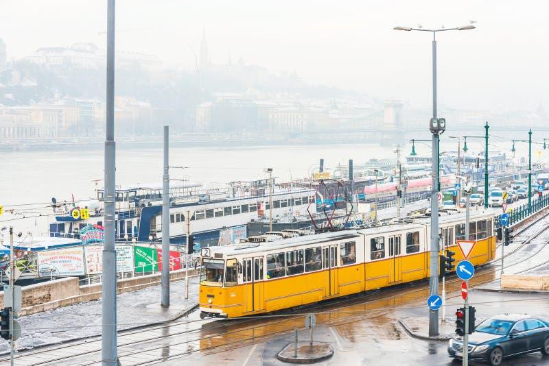 Χαρακτηριστικός, τροχιοδρομική γραμμή στη Βουδαπέστη, Ουγγαρία στοκ φωτογραφία με δικαίωμα ελεύθερης χρήσης