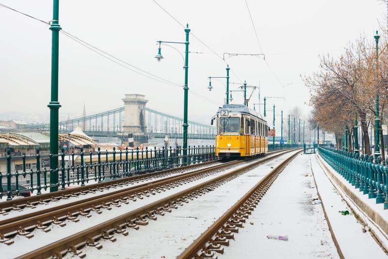 Χαρακτηριστικός, τροχιοδρομική γραμμή στη Βουδαπέστη, Ουγγαρία στοκ φωτογραφίες