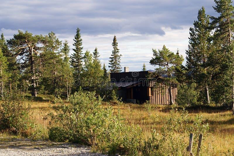 Χαρακτηριστικό νορβηγικό αγροτικό εξοχικό σπίτι όμορφο τοπίο Νορβηγία στοκ εικόνες