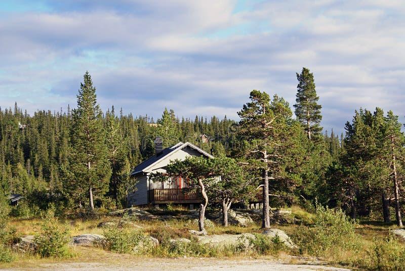 Χαρακτηριστικό νορβηγικό αγροτικό εξοχικό σπίτι όμορφο τοπίο Νορβηγία στοκ φωτογραφία