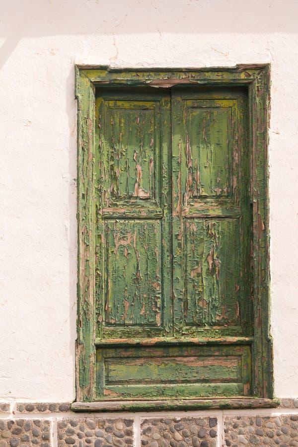 Χαρακτηριστικό πράσινο χρώμα της πόρτας, Tenerife, Ισπανία στοκ εικόνες με δικαίωμα ελεύθερης χρήσης