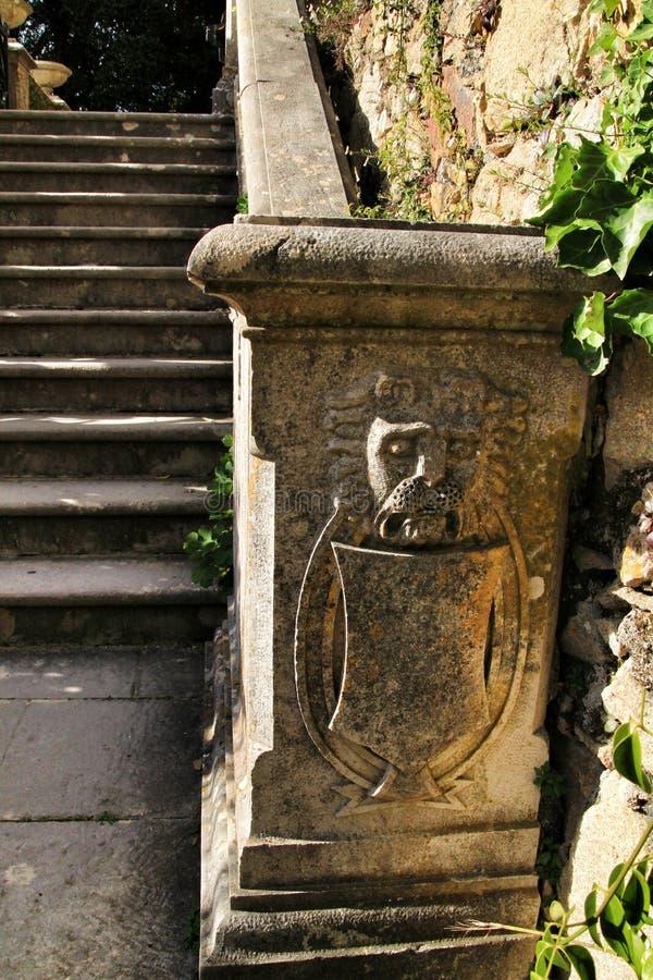 Χαρασμένα σκαλοπάτια πετρών του παλατιού Monserrate σε Sintra στοκ φωτογραφία