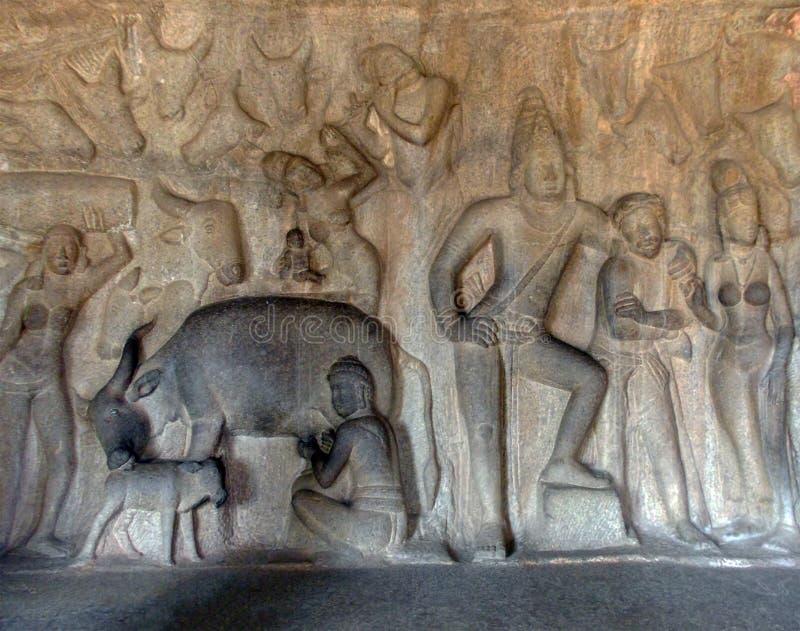 Χαρασμένη χέρι ζωγραφική που βρίσκεται στον τοίχο στη νότια Ινδία στοκ φωτογραφία με δικαίωμα ελεύθερης χρήσης