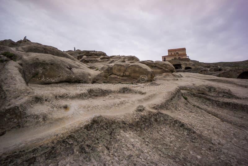 Χαρασμένος δρόμος πετρών στην αρχαία βασιλική uplistsikhe στοκ εικόνα με δικαίωμα ελεύθερης χρήσης