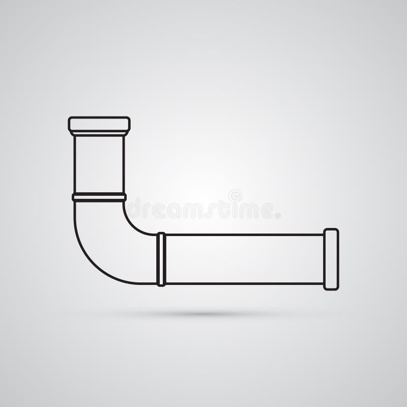 Χαρασμένο επίπεδο εικονίδιο σκιαγραφιών, απλό διανυσματικό σχέδιο Υδροσωλήνας Ι απεικόνιση αποθεμάτων