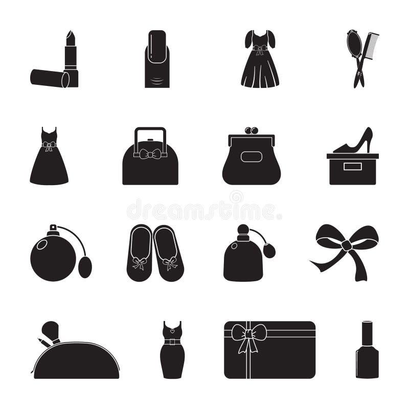 Χαρασμένο επίπεδο εικονίδιο σκιαγραφιών, απλό διανυσματικό σχέδιο Σύνολο εικονιδίων στο θηλυκό θέμα Κραγιόν, φόρεμα, τσάντα γυναι ελεύθερη απεικόνιση δικαιώματος