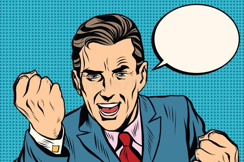 Χαρισματικός αναδρομικός επιχειρηματίας ομιλητών διανυσματική απεικόνιση
