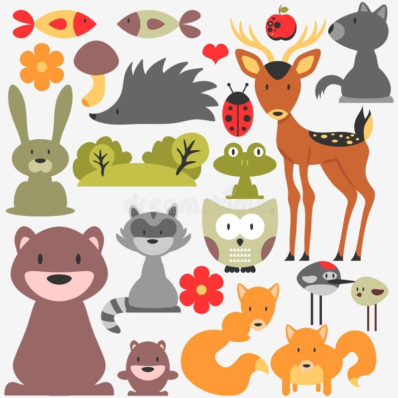 Χαριτωμένα άγρια ζώα διανυσματική απεικόνιση