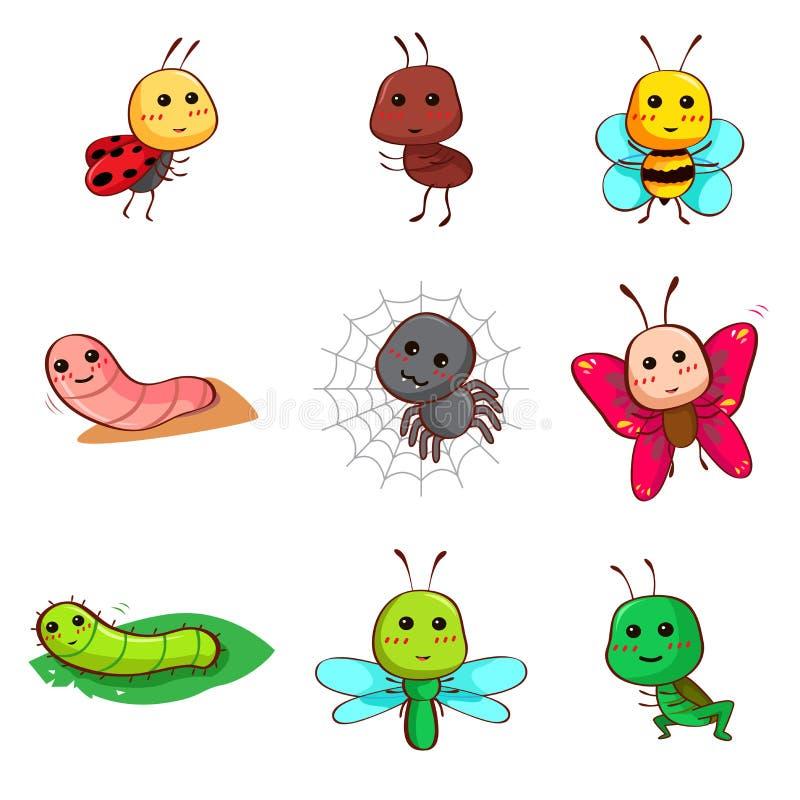 Χαριτωμένα έντομα και ζωύφια κινούμενων σχεδίων διανυσματική απεικόνιση