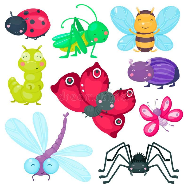 Χαριτωμένα έντομα μωρών κινούμενων σχεδίων που τίθενται για τα προϊόντα παιδιών Πεταλούδα και ζωύφιο, μέλισσα και λιβελλούλη ελεύθερη απεικόνιση δικαιώματος