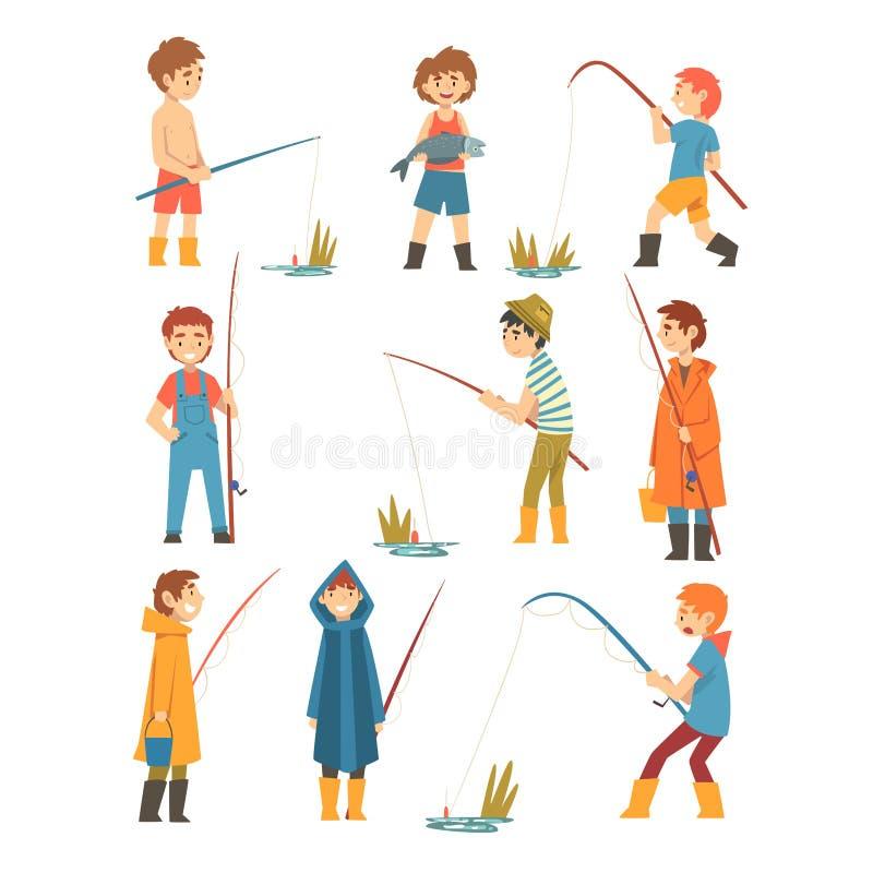 Χαριτωμένα αγόρια με την αλιεία των ράβδων καθορισμένων, μικρή διανυσματική απεικόνιση χαρακτηρών κινουμένων σχεδίων ψαράδων διανυσματική απεικόνιση