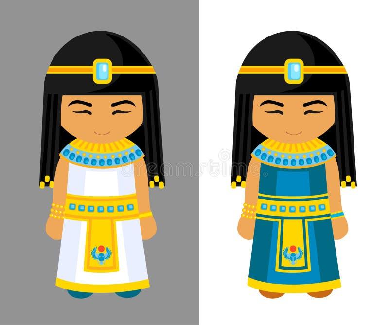 Χαριτωμένα αιγυπτιακά κορίτσια Εθνικό φόρεμα, παραδοσιακά ενδύματα απεικόνιση αποθεμάτων