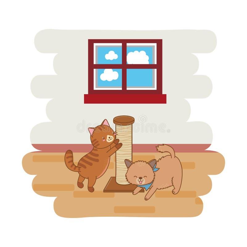 Χαριτωμένα αστεία κινούμενα σχέδια κατοικίδιων ζώων απεικόνιση αποθεμάτων