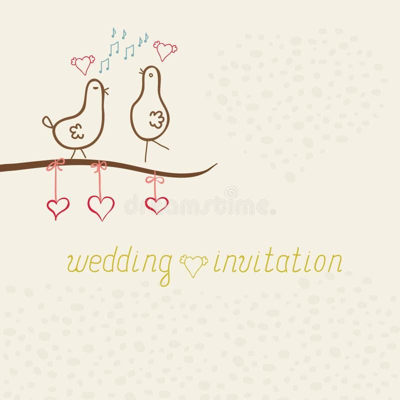 Χαριτωμένα αστεία πουλιά μορίων καρτών, γαμήλια πρόσκληση διανυσματική απεικόνιση