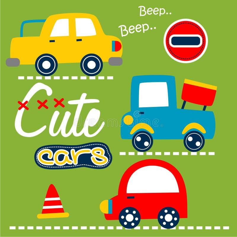 Χαριτωμένα αυτοκίνητα στα αστεία κινούμενα σχέδια οδών, διανυσματική απεικόνιση απεικόνιση αποθεμάτων