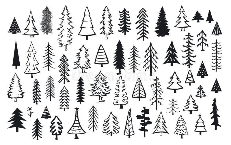 Χαριτωμένα αφηρημένα δέντρα βελόνων Χριστουγέννων έλατου πεύκων κωνοφόρων απεικόνιση αποθεμάτων