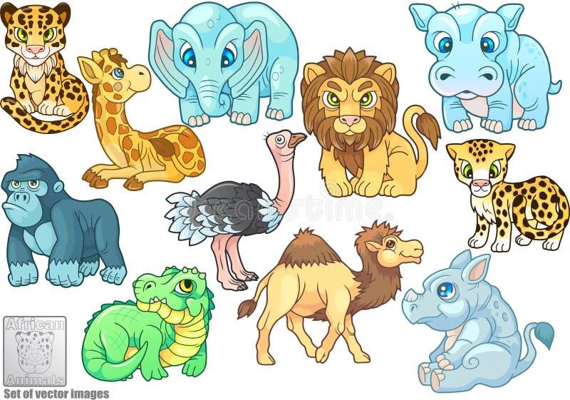 Χαριτωμένα αφρικανικά ζώα, σύνολο διανυσματικών απεικονίσεων ελεύθερη απεικόνιση δικαιώματος