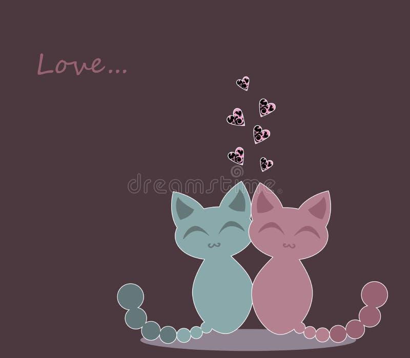 Χαριτωμένα γατάκια ερωτευμένα ελεύθερη απεικόνιση δικαιώματος
