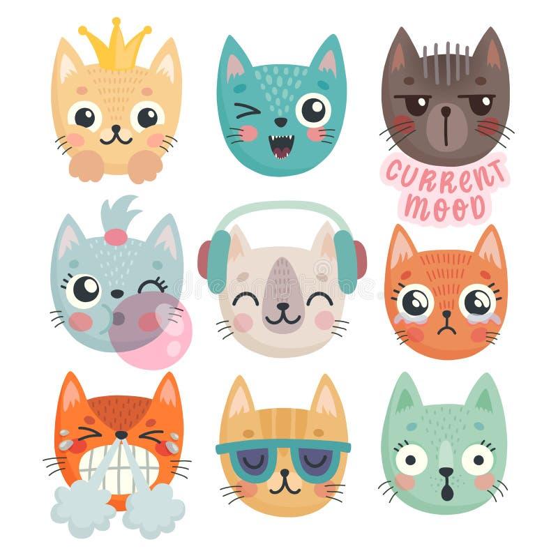 Χαριτωμένα γατάκια Χαρακτήρες με τις διαφορετικές συγκινήσεις - χαρά, θυμός, happines και άλλα διανυσματική απεικόνιση