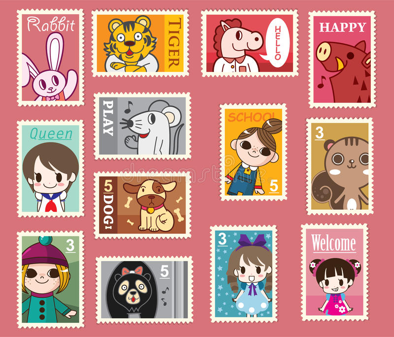 χαριτωμένα γραμματόσημα κι& διανυσματική απεικόνιση