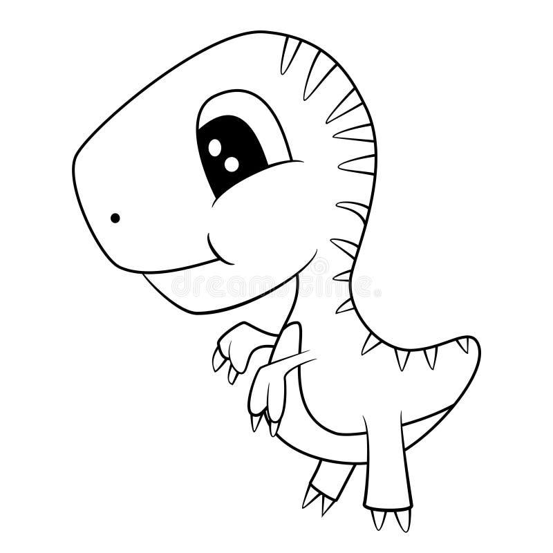 Χαριτωμένα γραπτά κινούμενα σχέδια του δεινοσαύρου τ-Rex μωρών διανυσματική απεικόνιση