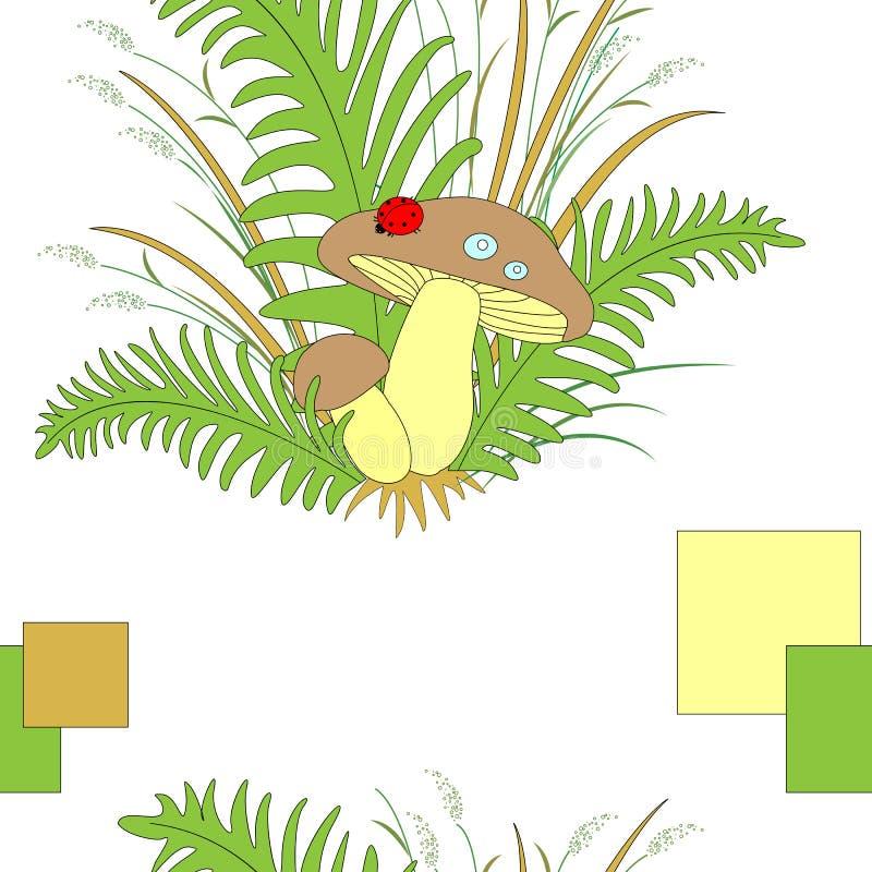Χαριτωμένα δασικά συμπαθητικά μανιτάρια στη χλόη και τη λαμπρίτσα φτερών r διανυσματική απεικόνιση