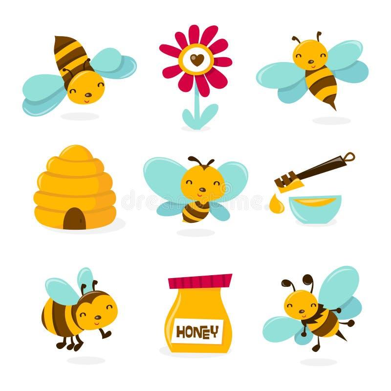 Χαριτωμένα εικονίδια μελισσών μελιού απεικόνιση αποθεμάτων