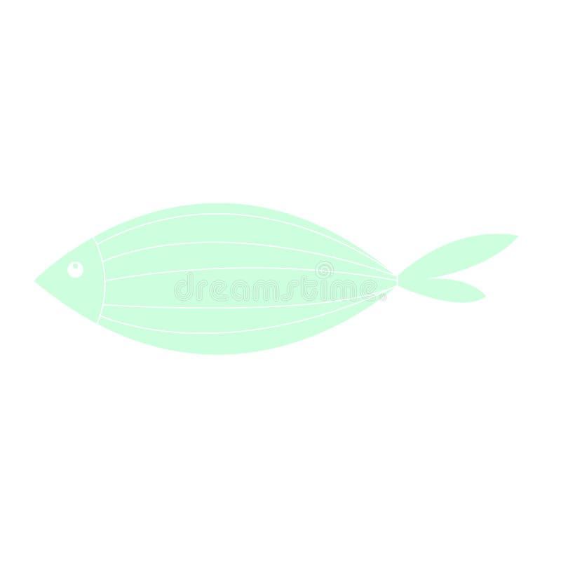 Χαριτωμένα εικονίδια ψαριών που δείχνουν υδρόβια ζώα με διάφορα πτερύγια, κλίμακες, ουρές και βράγχια να κολυμπούν στο νερό Καλό  απεικόνιση αποθεμάτων