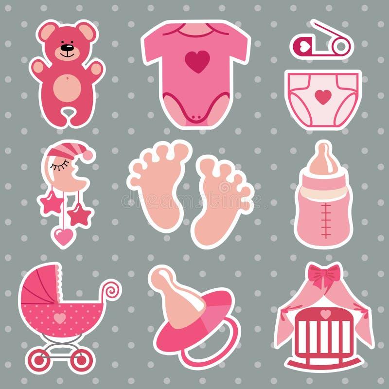Χαριτωμένα εικονίδια για το νεογέννητο κοριτσάκι Ανασκόπηση σημείων Πόλκα ελεύθερη απεικόνιση δικαιώματος
