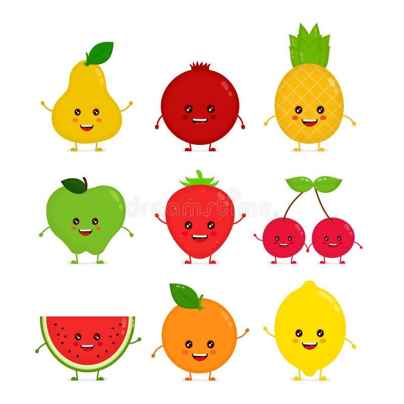 Χαριτωμένα ευτυχή αστεία ακατέργαστα φρούτα χαμόγελου ελεύθερη απεικόνιση δικαιώματος