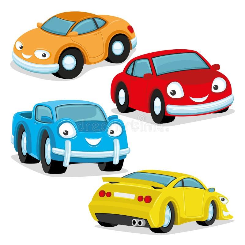Χαριτωμένα ζωηρόχρωμα αυτοκίνητα διανυσματική απεικόνιση