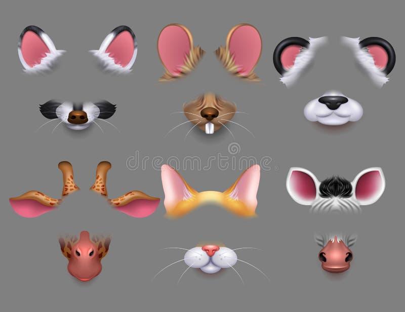 Χαριτωμένα ζωικά αυτιά και τηλεοπτικά φίλτρα επίδρασης μύτης Αστείες μάσκες προσώπων ζώων για το κινητό τηλεφωνικό διανυσματικό σ ελεύθερη απεικόνιση δικαιώματος