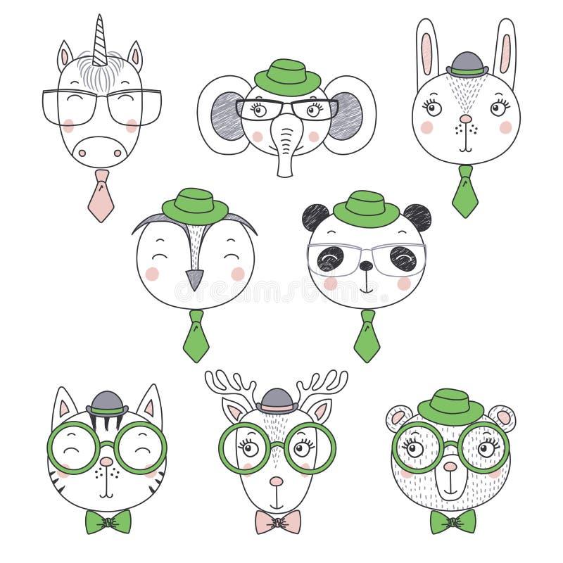 Χαριτωμένα ζωικά πορτρέτα doodles απεικόνιση αποθεμάτων