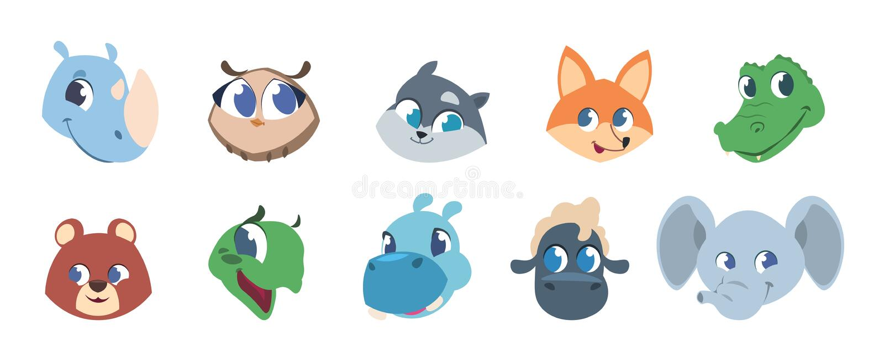 Χαριτωμένα ζωικά πρόσωπα Κατοικίδια ζώα μωρών και άγρια δασικά ζώα που χαμογελούν τα κεφάλια, ζωικά είδωλα χαρακτήρων παιδιών Διά ελεύθερη απεικόνιση δικαιώματος