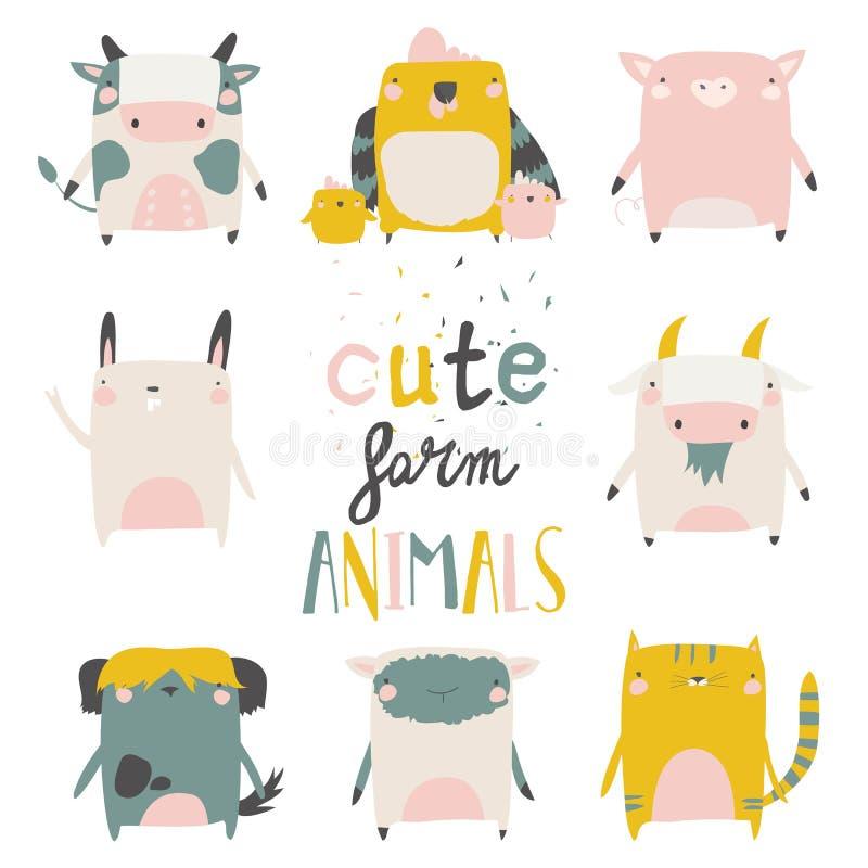 Χαριτωμένα ζώα αγροκτημάτων που τίθενται στο άσπρο υπόβαθρο r διανυσματική απεικόνιση
