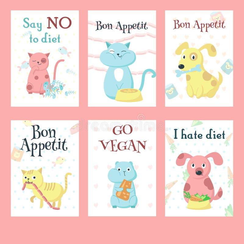 Χαριτωμένα ζώα κατοικίδιων ζώων που τρώνε το διανυσματικό σύνολο καρτών τροφίμων ελεύθερη απεικόνιση δικαιώματος