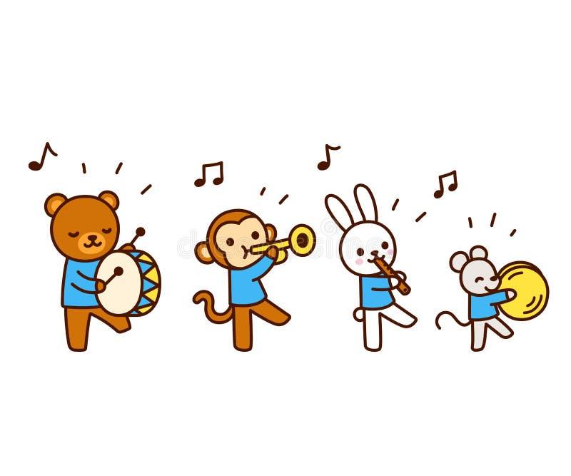 Χαριτωμένα ζώα κινούμενων σχεδίων που παίζουν τη μουσική απεικόνιση αποθεμάτων