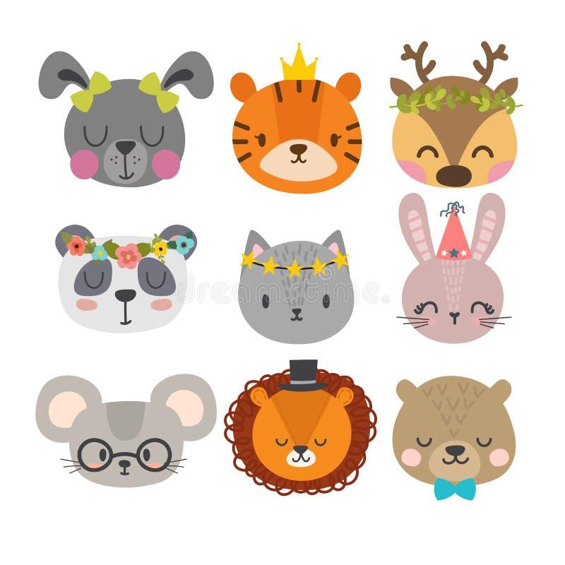 Χαριτωμένα ζώα με τα αστεία εξαρτήματα Σύνολο συρμένων χέρι χαμογελώντας χαρακτήρων Γάτα, λιοντάρι, panda, λαγουδάκι, σκυλί, τίγρ ελεύθερη απεικόνιση δικαιώματος