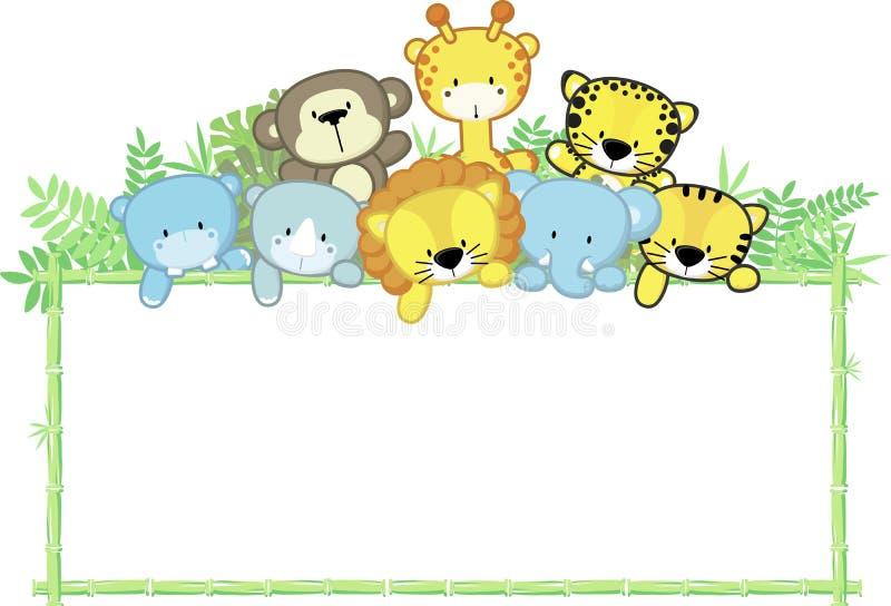 Χαριτωμένα ζώα μωρών και πλαίσιο μπαμπού απεικόνιση αποθεμάτων